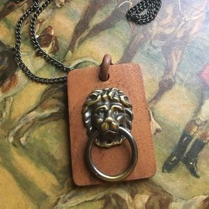 Vintage Mahogany wood lion door knocker necklace